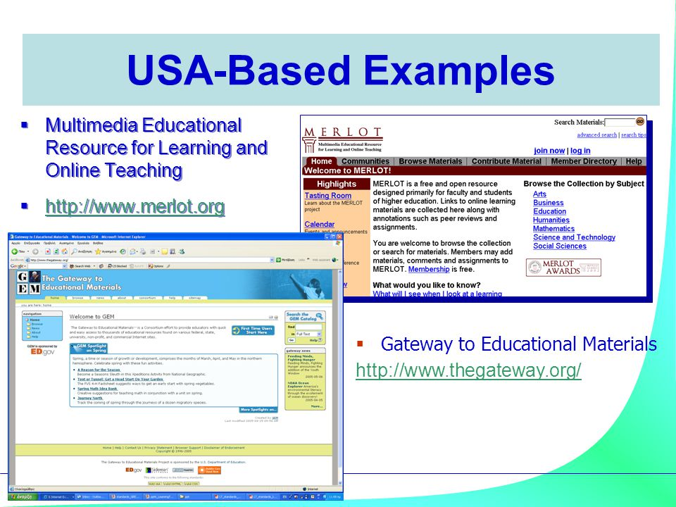 USA-Based Examples Multimedia Educational Resource for Learning and Online Teaching. http://www.merlot.org.