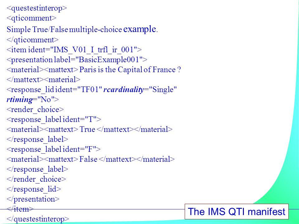 The IMS QTI manifest <questestinterop> <qticomment>