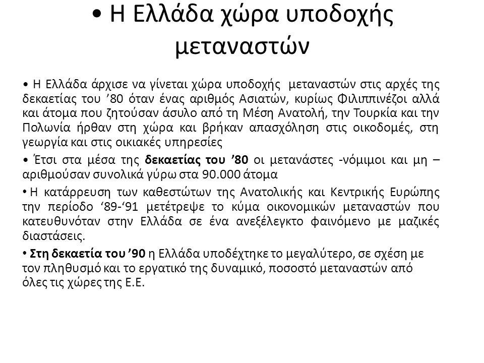 • Η Ελλάδα χώρα υποδοχής μεταναστών