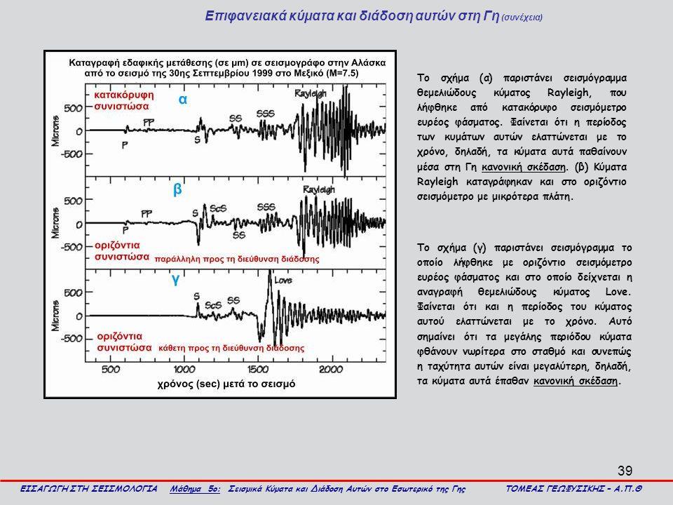 Επιφανειακά κύματα και διάδοση αυτών στη Γη (συνέχεια)
