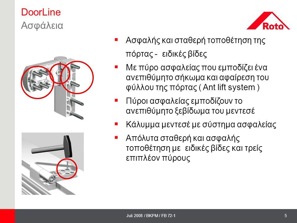 DoorLine Ασφάλεια Ασφαλής και σταθερή τοποθέτηση της
