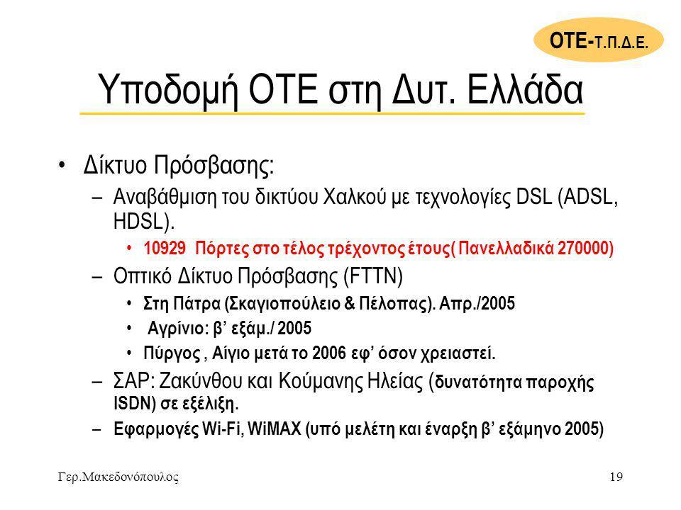Υποδομή ΟΤΕ στη Δυτ. Ελλάδα
