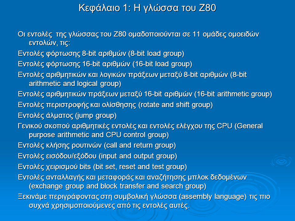 Κεφάλαιο 1: Η γλώσσα του Ζ80