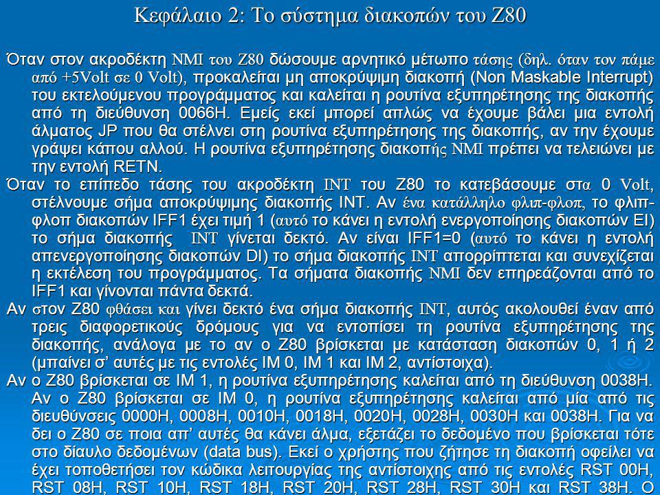 Κεφάλαιο 2: To σύστημα διακοπών του Ζ80