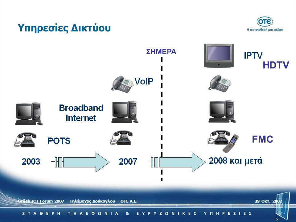 Υπηρεσίες Δικτύου HDTV FMC ΣΗΜΕΡΑ