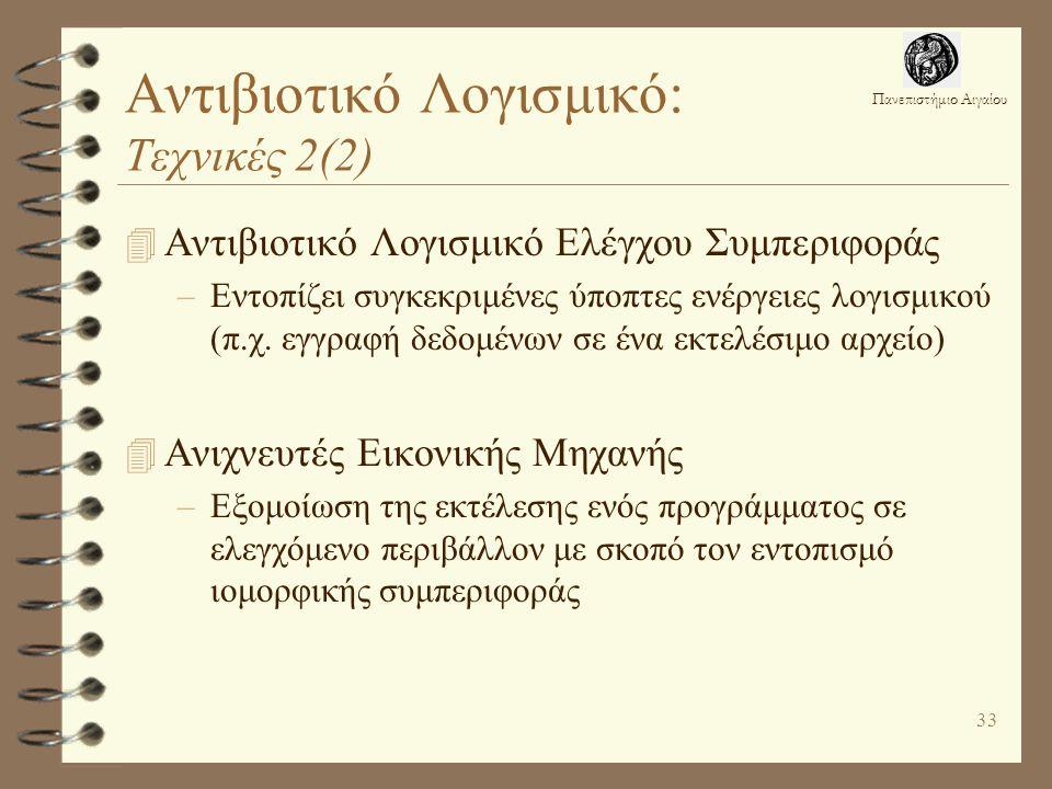 Αντιβιοτικό Λογισμικό: Τεχνικές 2(2)