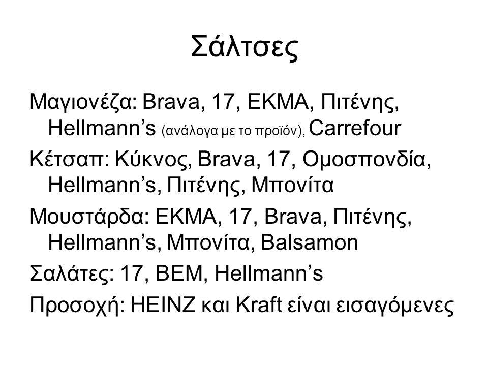 Σάλτσες Μαγιονέζα: Brava, 17, ΕΚΜΑ, Πιτένης, Hellmann's (ανάλογα με το προϊόν), Carrefour.