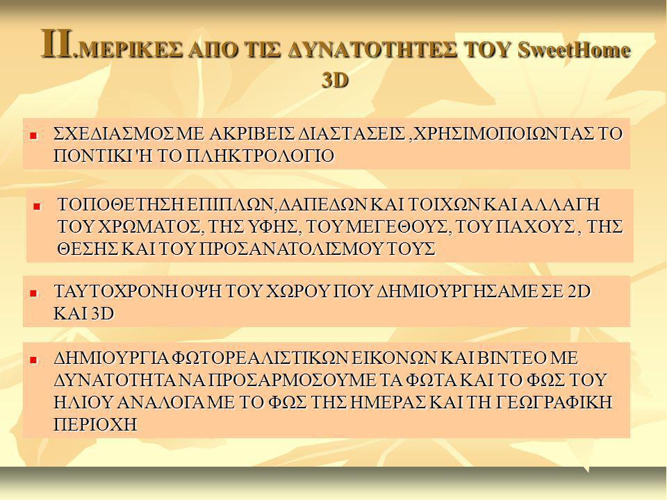 II.ΜΕΡΙΚΕΣ ΑΠΟ ΤΙΣ ΔΥΝΑΤΟΤΗΤΕΣ ΤΟΥ SweetHome 3D