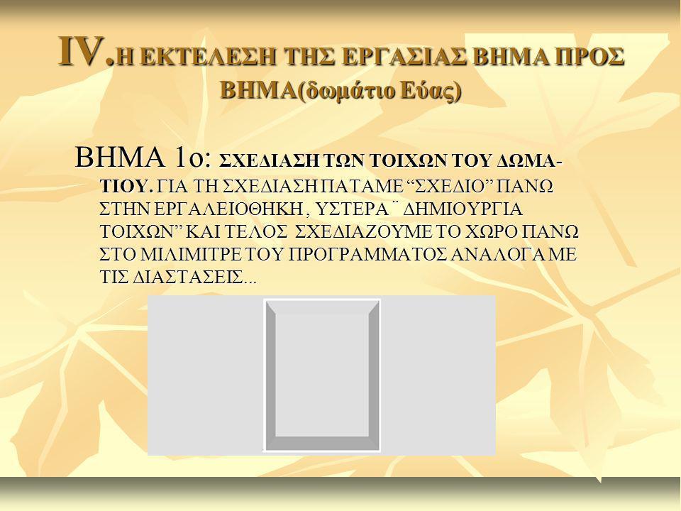 IV.Η ΕΚΤΕΛΕΣΗ ΤΗΣ ΕΡΓΑΣΙΑΣ ΒΗΜΑ ΠΡΟΣ ΒΗΜΑ(δωμάτιο Εύας)