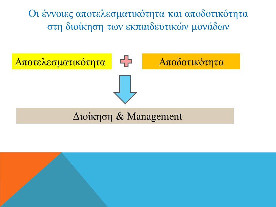 Οι έννοιες αποτελεσματικότητα και αποδοτικότητα στη διοίκηση των εκπαιδευτικών μονάδων