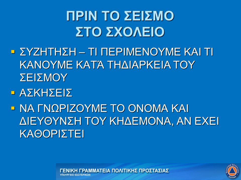 ΠΡΙΝ ΤΟ ΣΕΙΣΜΟ ΣΤΟ ΣΧΟΛΕΙΟ