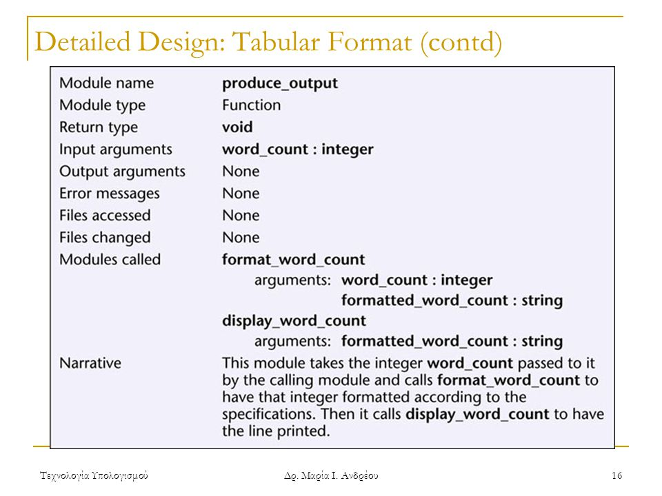 Detailed Design: Tabular Format (contd)
