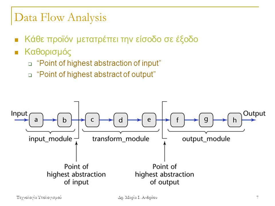 Data Flow Analysis Κάθε προϊόν μετατρέπει την είσοδο σε έξοδο