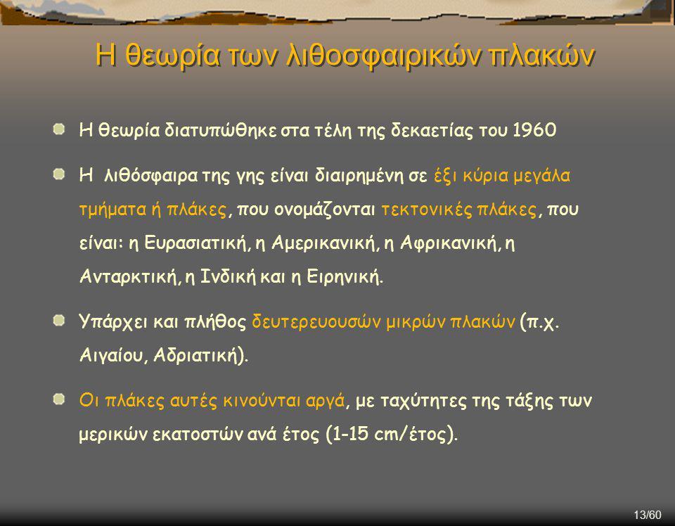 Η θεωρία των λιθοσφαιρικών πλακών