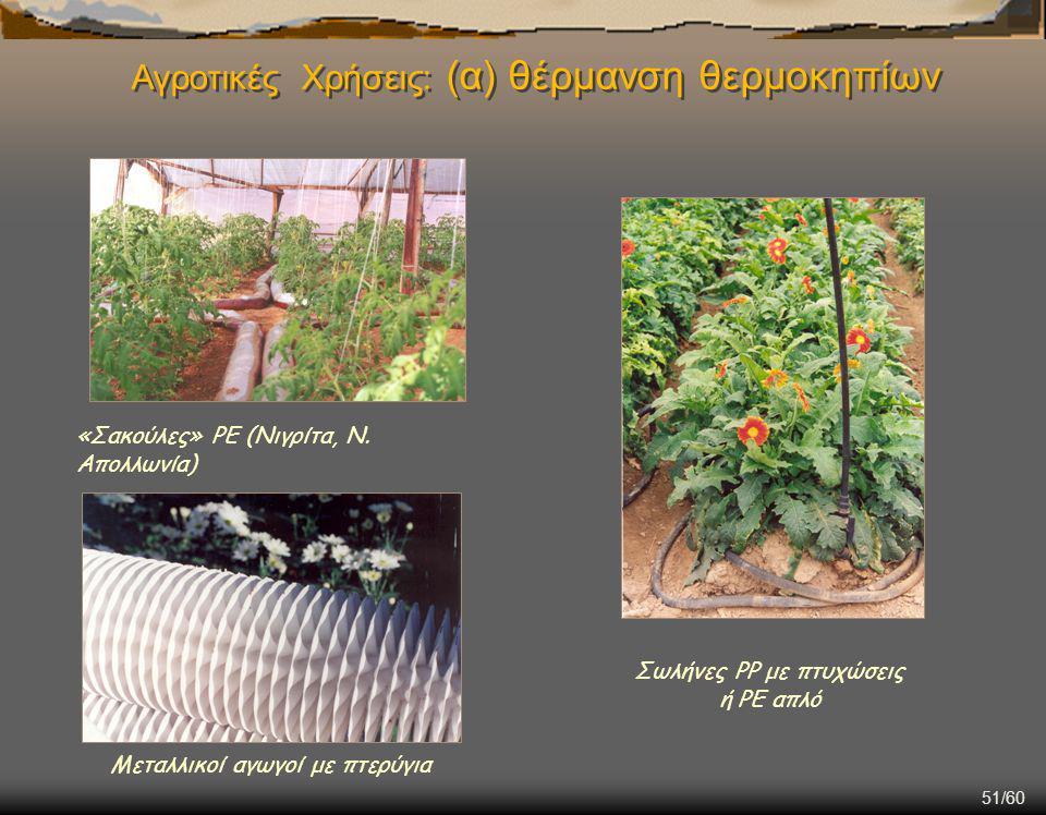 Αγροτικές Χρήσεις: (α) θέρμανση θερμοκηπίων