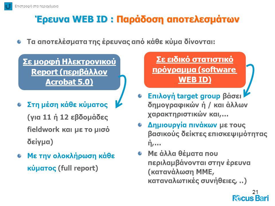 Έρευνα WEB ID : Παράδοση αποτελεσμάτων