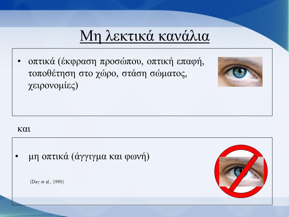 Μη λεκτικά κανάλια οπτικά (έκφραση προσώπου, οπτική επαφή, τοποθέτηση στο χώρο, στάση σώματος, χειρονομίες)