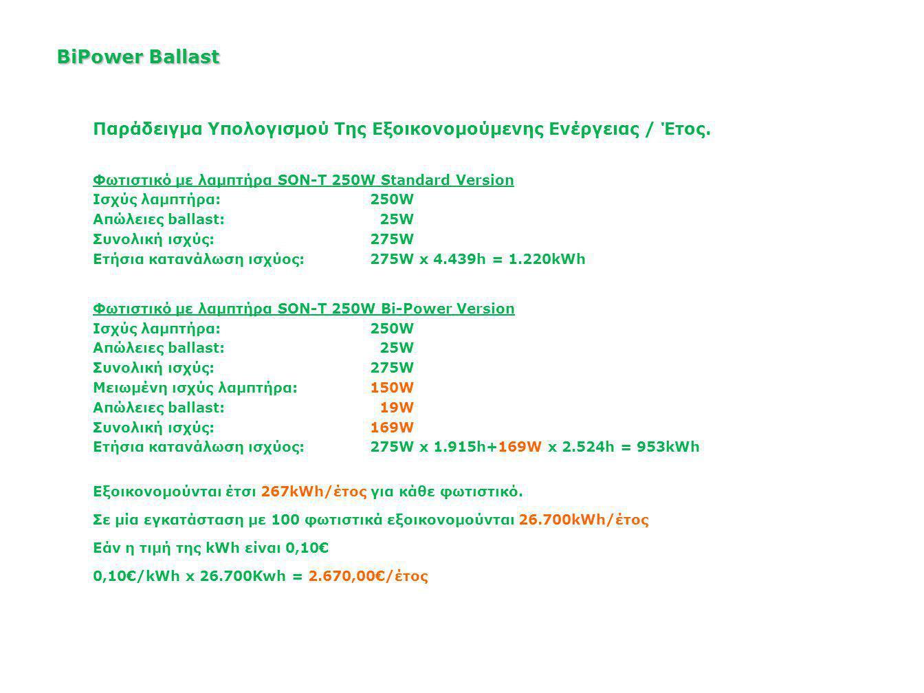 BiPower Ballast Παράδειγμα Υπολογισμού Της Εξοικονομούμενης Ενέργειας / Έτος. Φωτιστικό με λαμπτήρα SON-T 250W Standard Version.