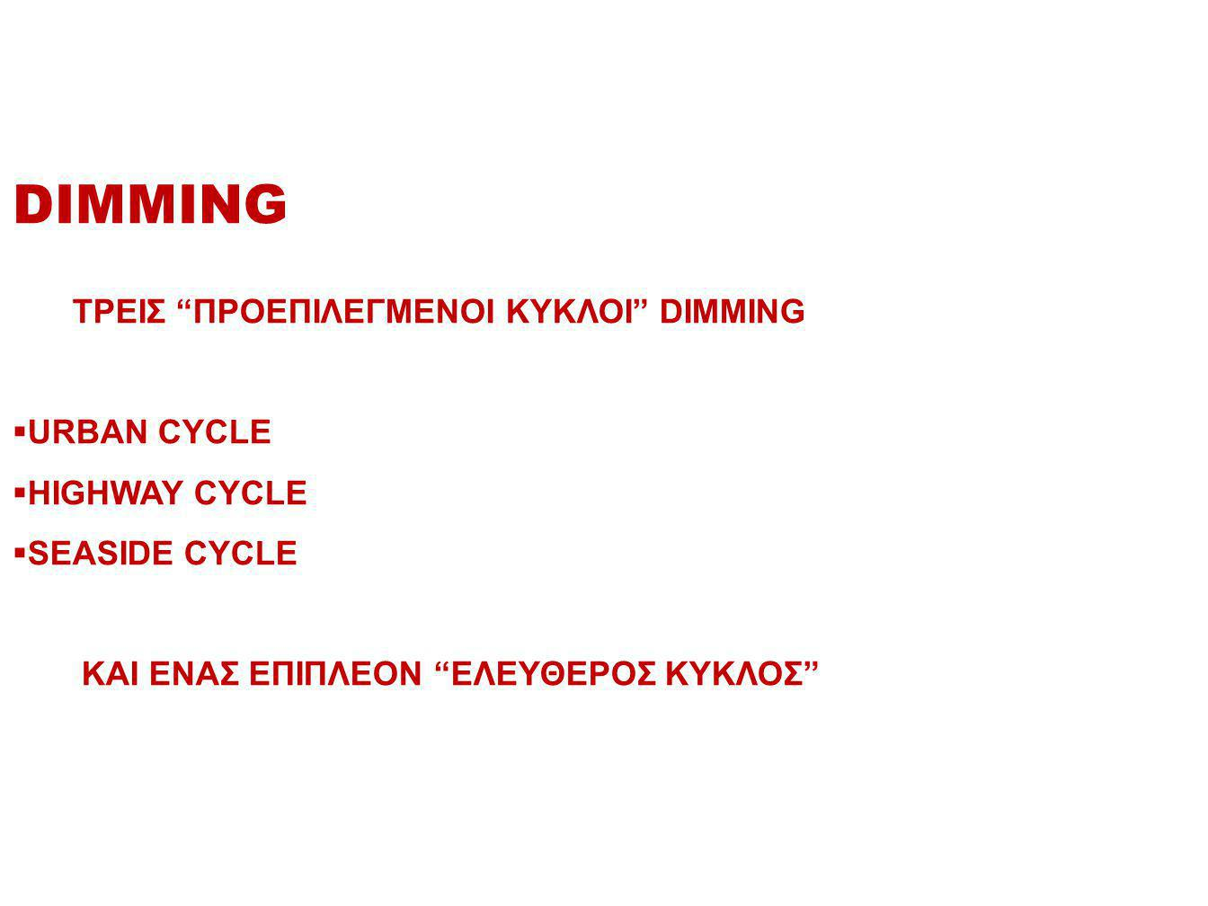 DIMMING ΤΡΕΙΣ ΠΡΟΕΠΙΛΕΓΜΕΝΟΙ ΚΥΚΛΟΙ DIMMING URBAN CYCLE