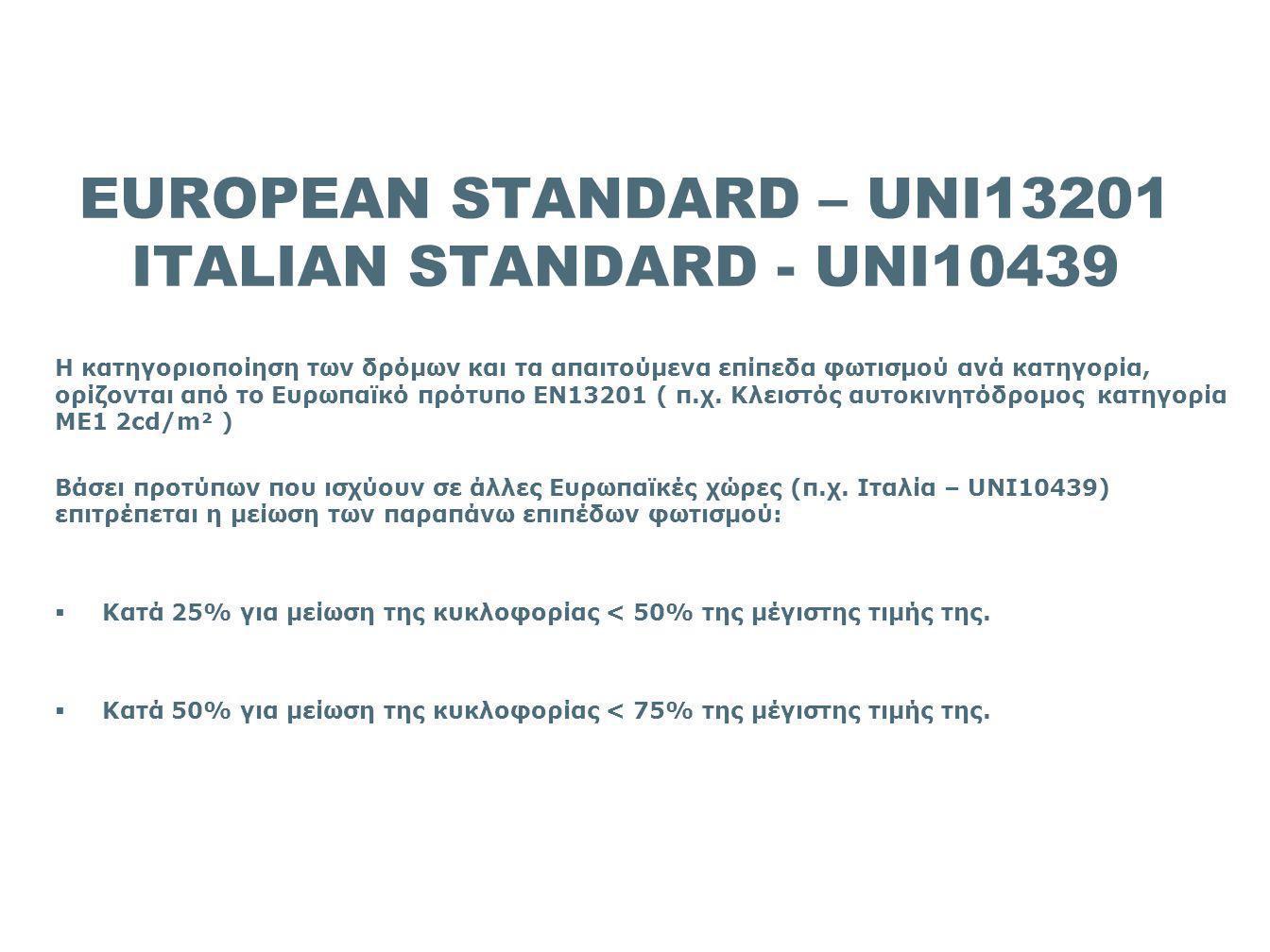 EUROPEAN STANDARD – UNI13201 ITALIAN STANDARD - UNI10439
