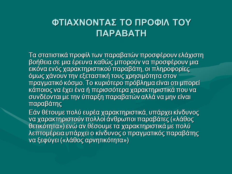 ΦΤΙΑΧΝΟΝΤΑΣ ΤΟ ΠΡΟΦΙΛ ΤΟΥ ΠΑΡΑΒΑΤΗ