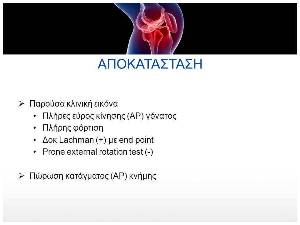 ΑΠΟΚΑΤΑΣΤΑΣΗ Παρούσα κλινική εικόνα Πλήρες εύρος κίνησης (ΑΡ) γόνατος