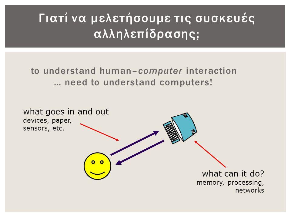 Γιατί να μελετήσουμε τις συσκευές αλληλεπίδρασης;