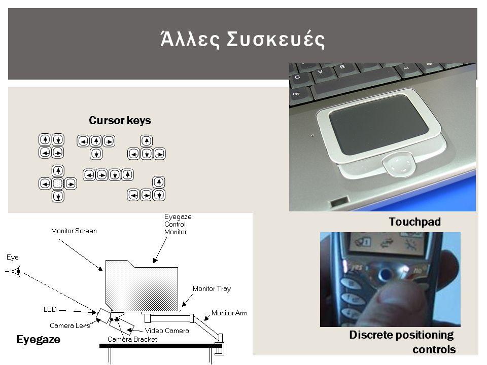 Άλλες Συσκευές Cursor keys Touchpad Discrete positioning Eyegaze