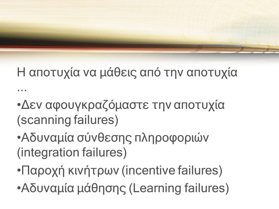 Η αποτυχία να μάθεις από την αποτυχία ...