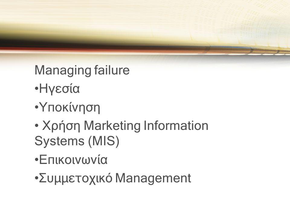 Managing failure Ηγεσία. Υποκίνηση. Χρήση Marketing Information Systems (MIS) Επικοινωνία.