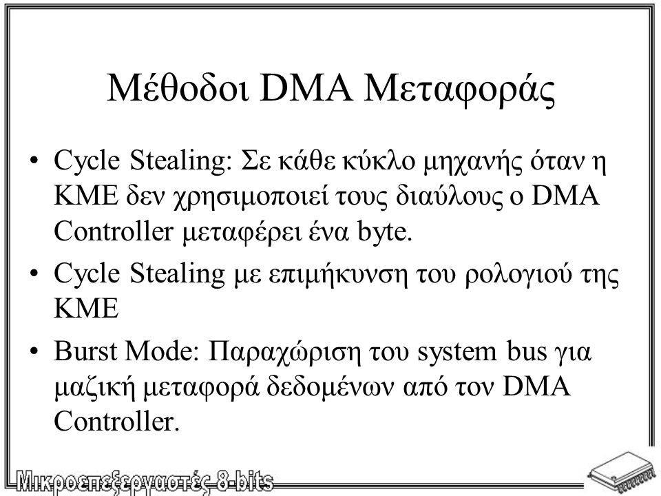 Μέθοδοι DMA Μεταφοράς Cycle Stealing: Σε κάθε κύκλο μηχανής όταν η ΚΜΕ δεν χρησιμοποιεί τους διαύλους ο DMA Controller μεταφέρει ένα byte.