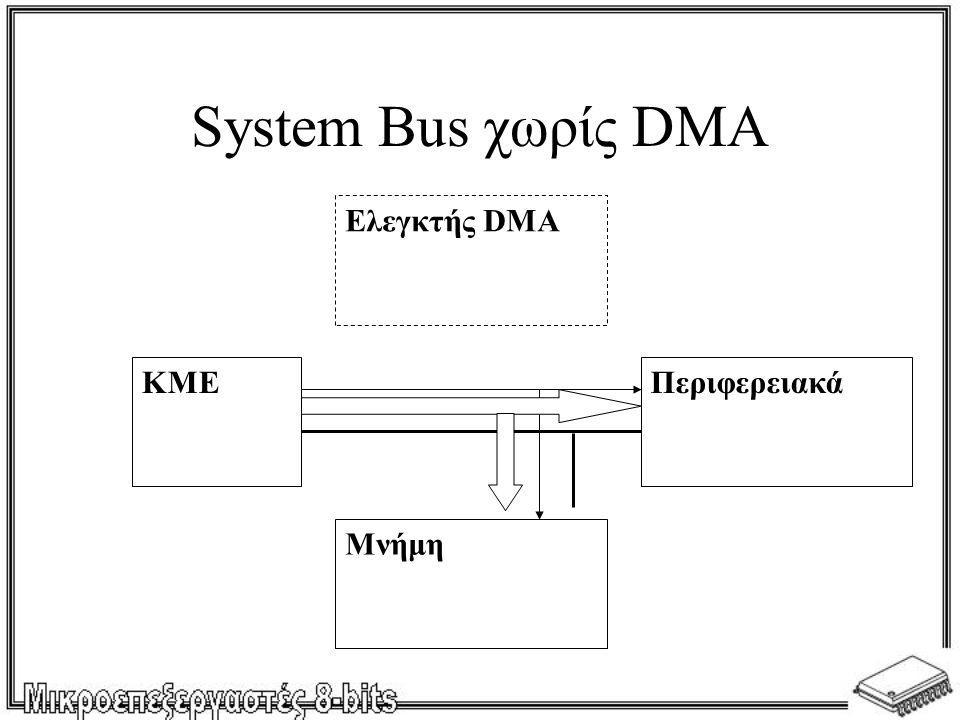 System Bus χωρίς DMA ΚΜΕ Ελεγκτής DMA Μνήμη Περιφερειακά
