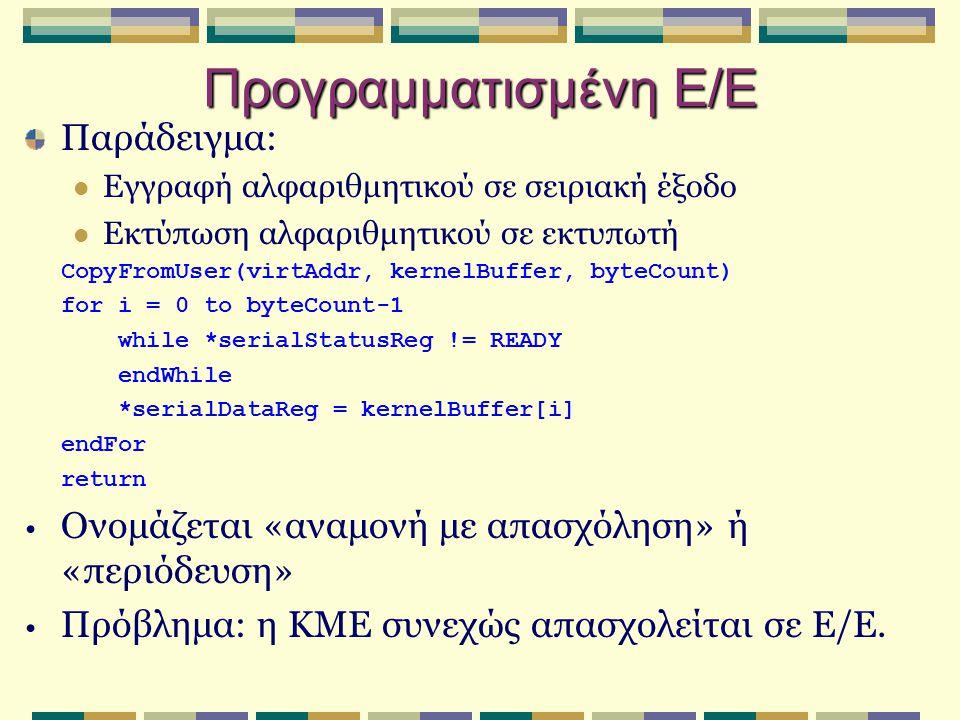 Προγραμματισμένη Ε/Ε Παράδειγμα: