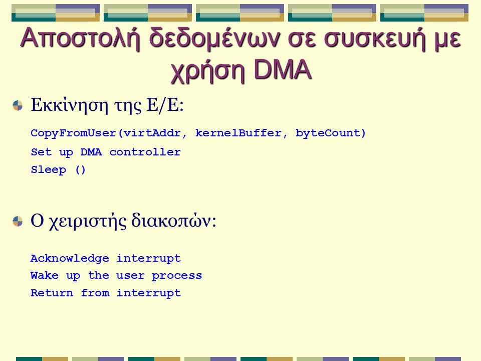 Αποστολή δεδομένων σε συσκευή με χρήση DMA