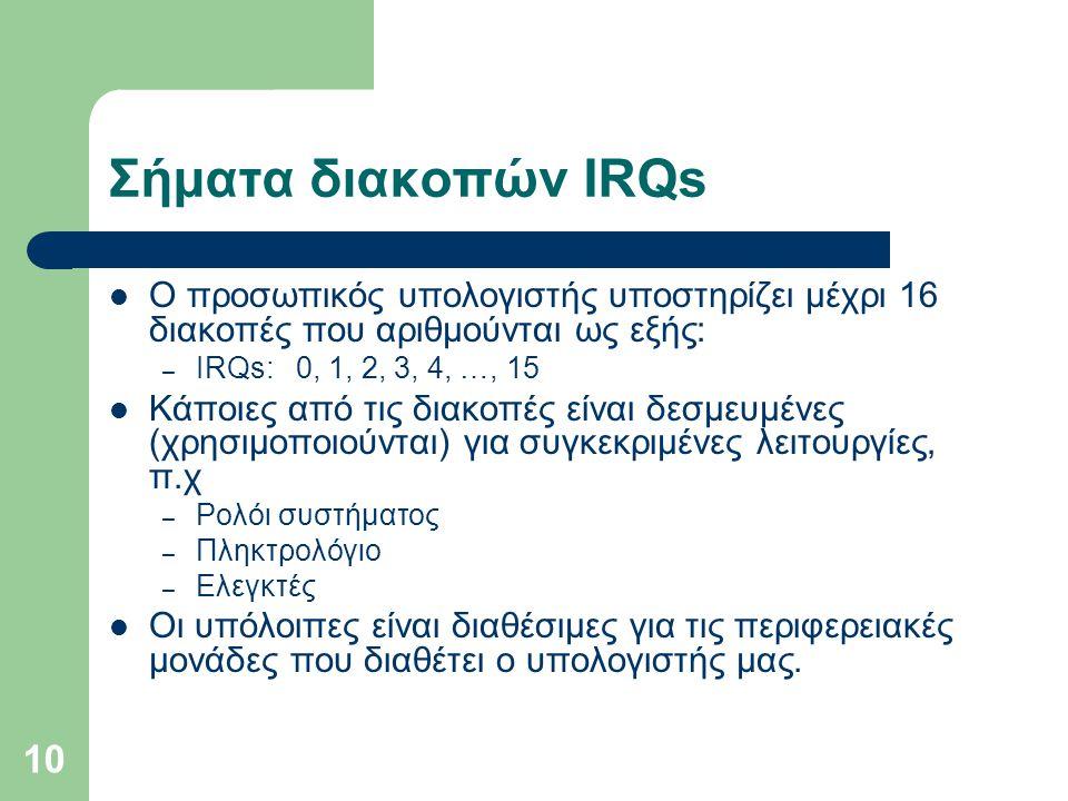 Σήματα διακοπών IRQs Ο προσωπικός υπολογιστής υποστηρίζει μέχρι 16 διακοπές που αριθμούνται ως εξής: