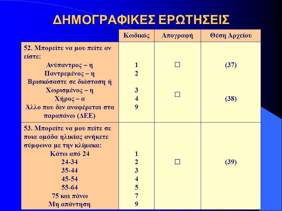 ΔΗΜΟΓΡΑΦΙΚΕΣ ΕΡΩΤΗΣΕΙΣ