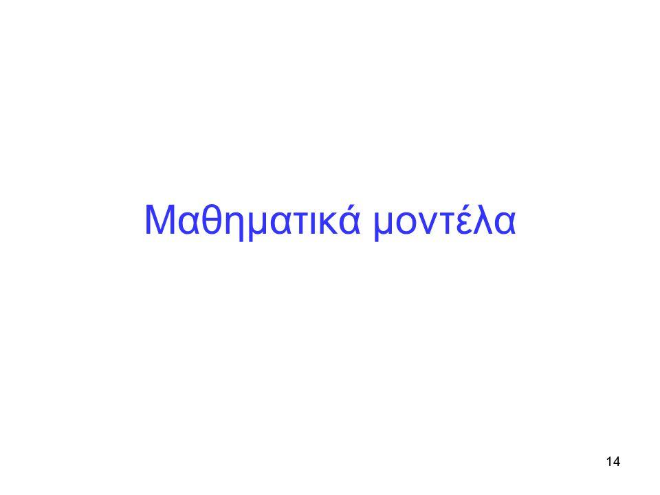 Μαθηματικά μοντέλα Μοντέλα προσομοίωσης 14 14