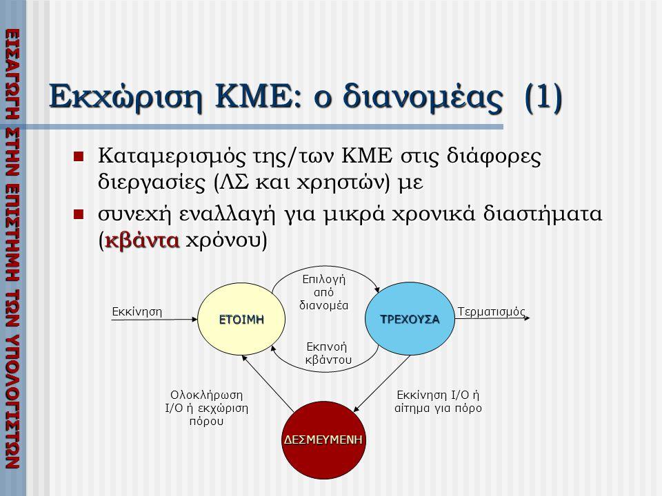 Εκχώριση ΚΜΕ: ο διανομέας (1)