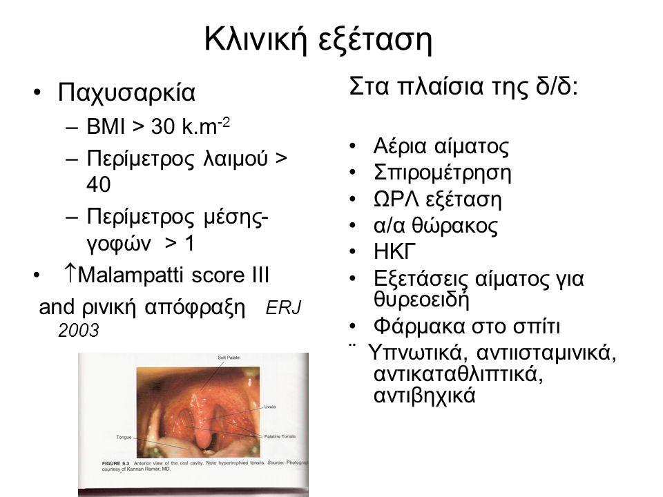 Κλινική εξέταση Παχυσαρκία Στα πλαίσια της δ/δ: BMI > 30 k.m-2