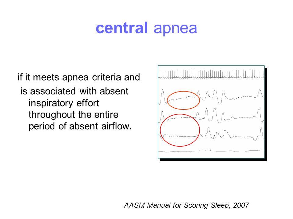 central apnea if it meets apnea criteria and