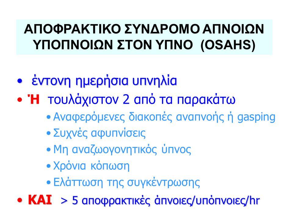 ΑΠΟΦΡΑΚΤΙΚΟ ΣΥΝΔΡΟΜΟ ΑΠΝΟΙΩΝ ΥΠΟΠΝΟΙΩΝ ΣΤΟΝ ΥΠΝΟ (OSAHS)