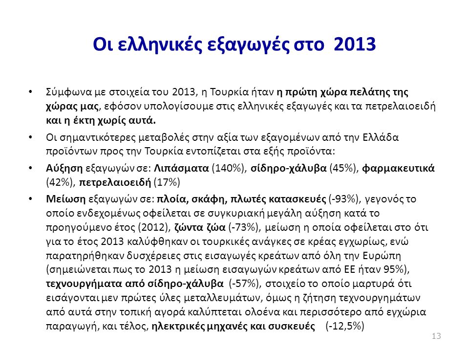 Οι ελληνικές εξαγωγές στο 2013