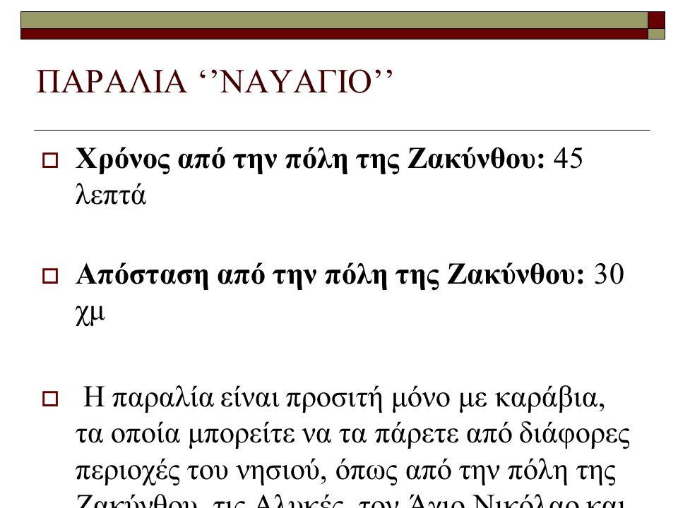 ΠΑΡΑΛΙΑ ''ΝΑΥΑΓΙΟ'' Χρόνος από την πόλη της Ζακύνθου: 45 λεπτά