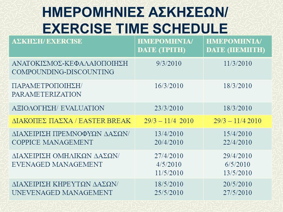ΗΜΕΡΟΜΗΝΙΕΣ ΑΣΚΗΣΕΩΝ/ EXERCISE TIME SCHEDULE