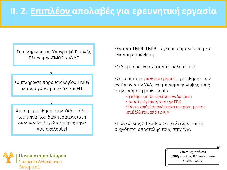 II. 2. Επιπλέον απολαβές για ερευνητική εργασία