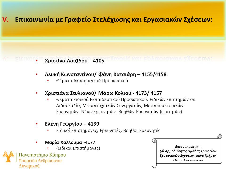 Επικοινωνία με Γραφείο Στελέχωσης και Εργασιακών Σχέσεων: