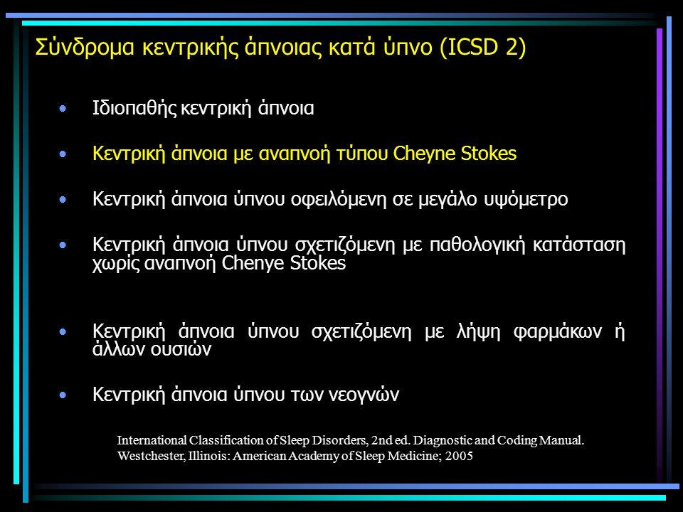 Σύνδρομα κεντρικής άπνοιας κατά ύπνο (ICSD 2)