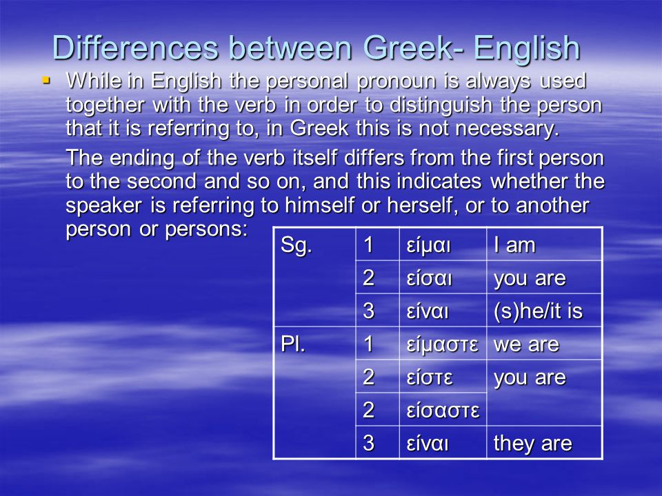 Differences between Greek- English