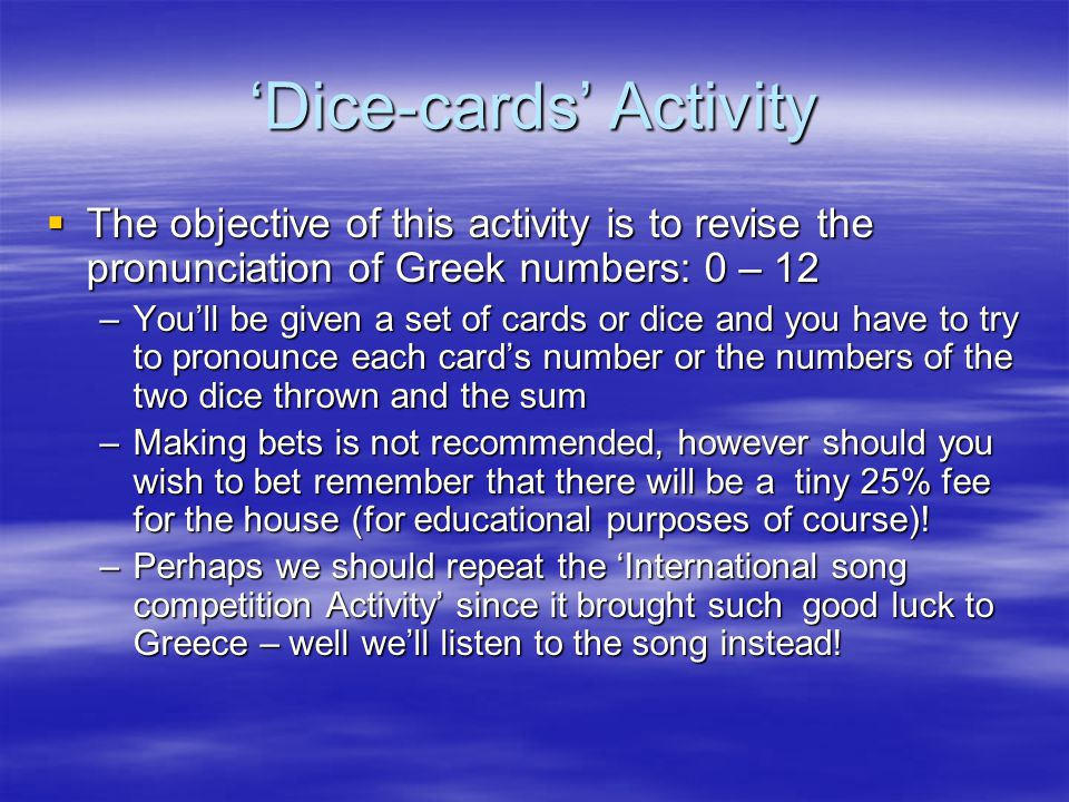 'Dice-cards' Activity