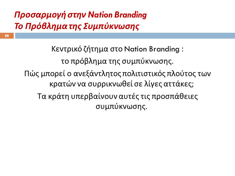 Προσαρμογή στην Nation Branding Το Πρόβλημα της Συμπύκνωσης